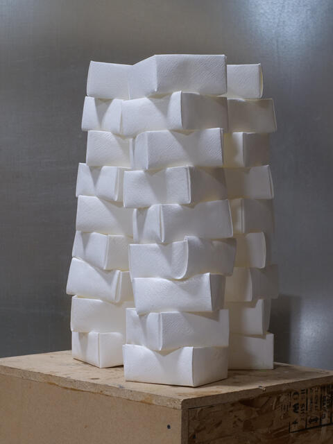 An art sculpture made out of white cubes
