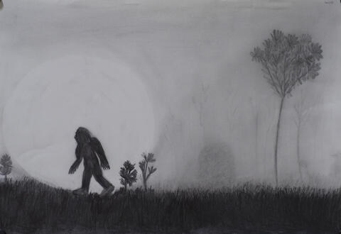 A shaded pencil drawing of a person walking at night in front of a full moon
