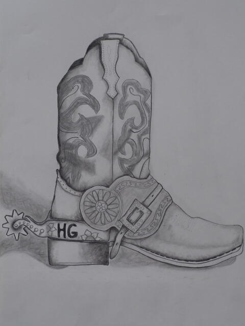 a shaded pencil drawing of a fancy boot