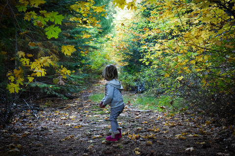 Young girl on a path in the woods