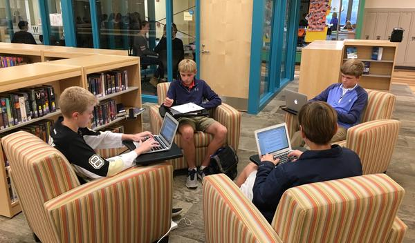 Students studying in the LMC at LBMS