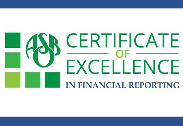 Certificate of Excellence in Financial Reporting