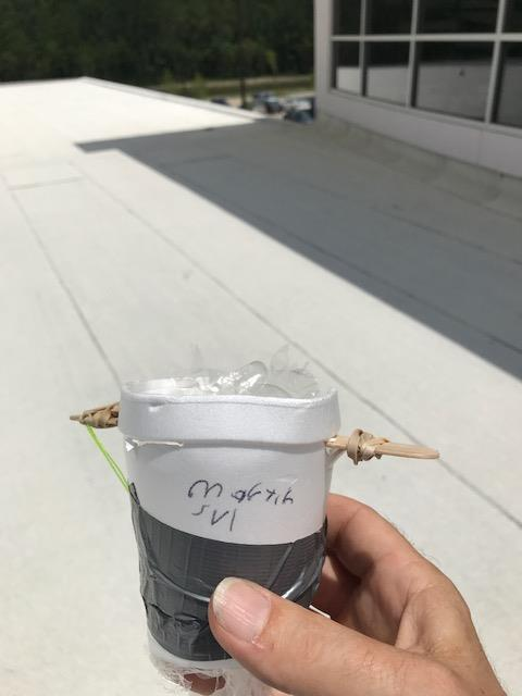Top of a styrofoam cup with a stick poke through it.