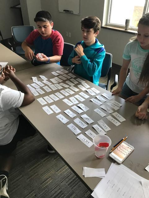 Students looking at cards with words on table