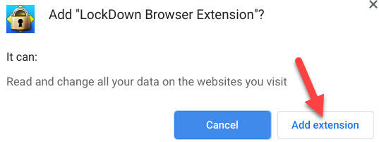 Add LockDown Browsser Extension screen capture