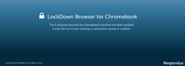 LockDown Browser for Chromebook confirmation page screen capture