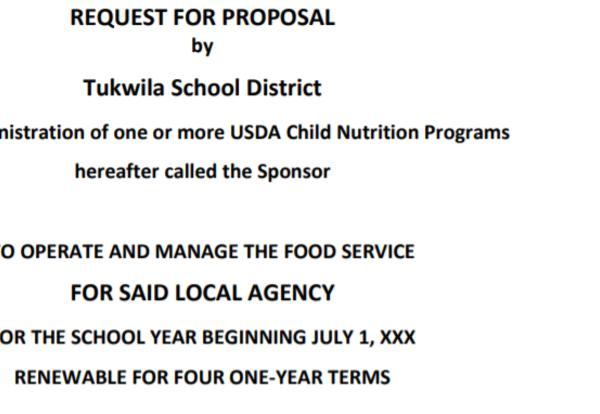 RFP for Food Services