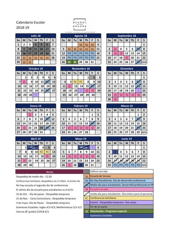 s2s academic year calendar for 2018 2019