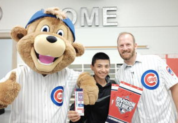 Cubs Ryan Dempster Visits Lake View and Awards Sophomore Arturo Herrera NLDS Playoff Tickets