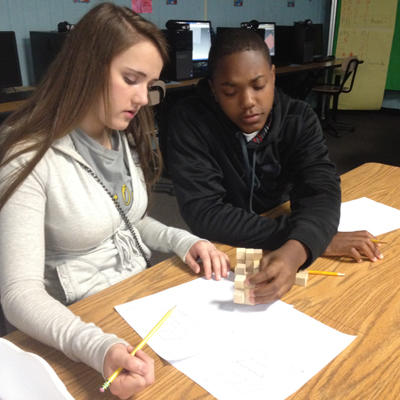 Students at Starkville High School use manipulatives in math class