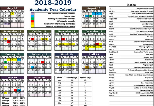 academic calendar updated for 2018 2019