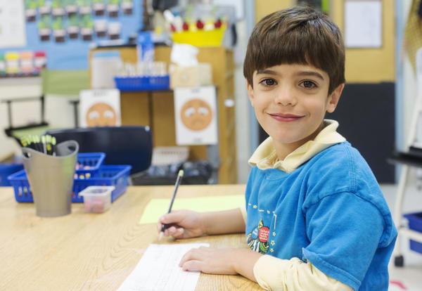 student in kindergarten classroom