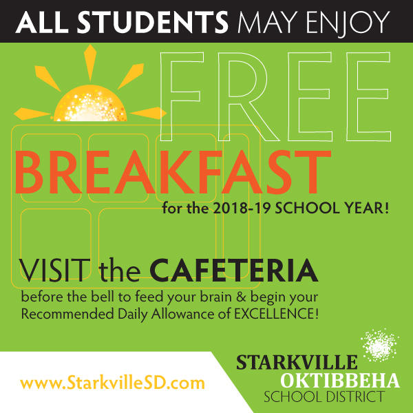 Decorative - All students may enjoy free breakfast for the 2018-19 school year