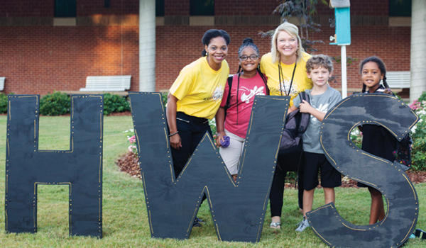 HWS principal, Mrs. Fancher and her team welcome students on the first day of school