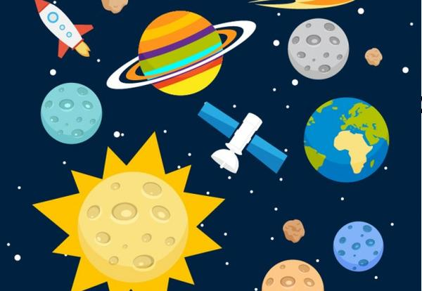 decorative image of planets and rockets for science camp