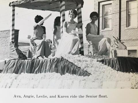 SHS 1971 Senior Homecoming Maids Ride in Parade Float