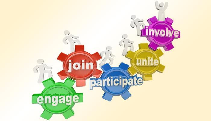 wheel cogs with words - join, engage, participate, involve, unite