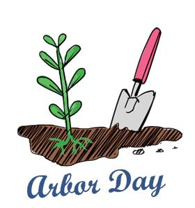 Arbor Day plant and shovel image