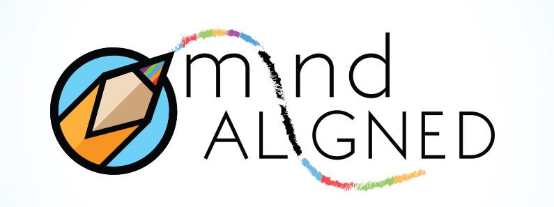 Mind aligned logo with pencil and colors