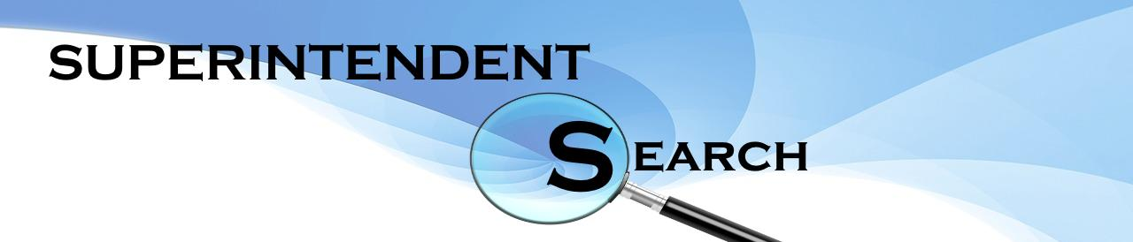Superintendent Search graphic with magnifying glass on blue background
