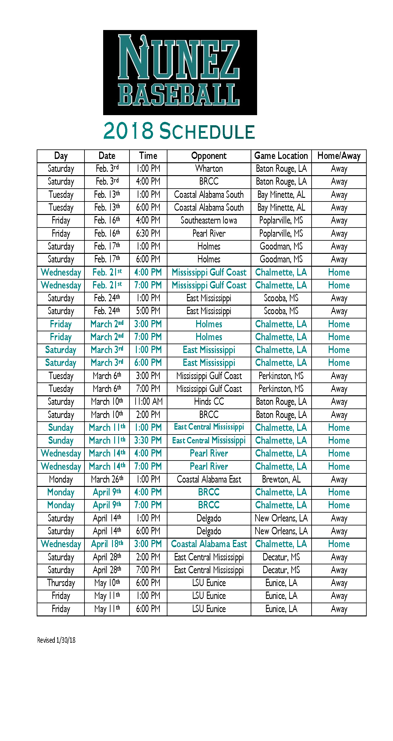 Baseball Sched