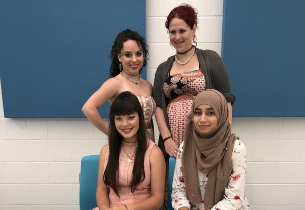 Front L-R: Ariel Troxclair, Ayeshah Saleem Back L-R: Aurora Troxclair, Stephanie Gibson