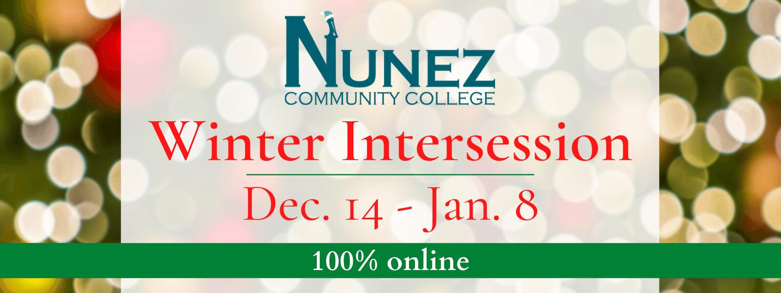 Winter Intersession: Dec 14-Jan 8, 100% Online - Click Here for More Information