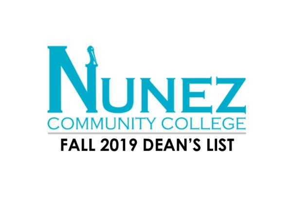 Nunez Community College Fall 2019 Dean's List Logo
