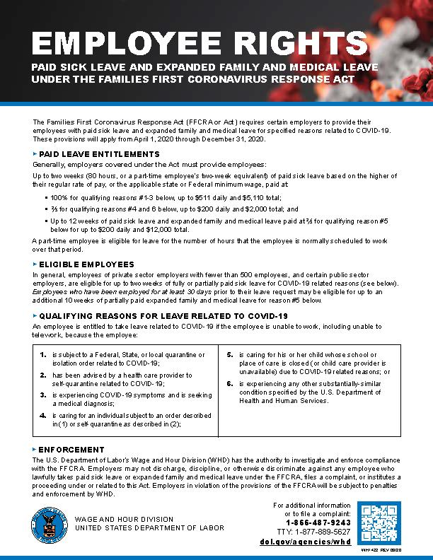 Families First Coronavirus Response Act Employee Rights Poster
