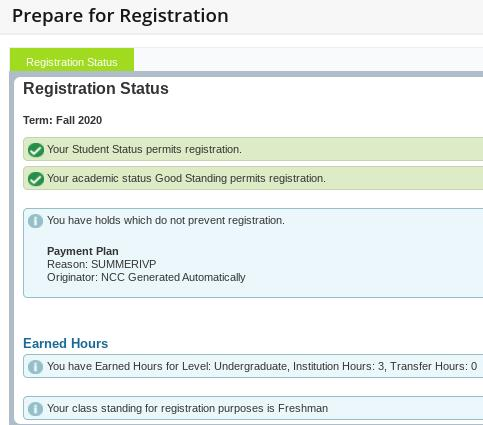 Prepare for Registration Screenshot