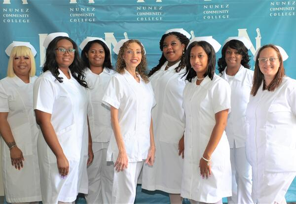 Eight Practical Nursing graduates participated in a pinning ceremony May 20 on the Nunez campus.