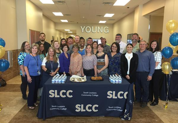 SLCC Chancellor Dr. Natalie Harder with faculty, staff, and students at the Young Memorial Campus.