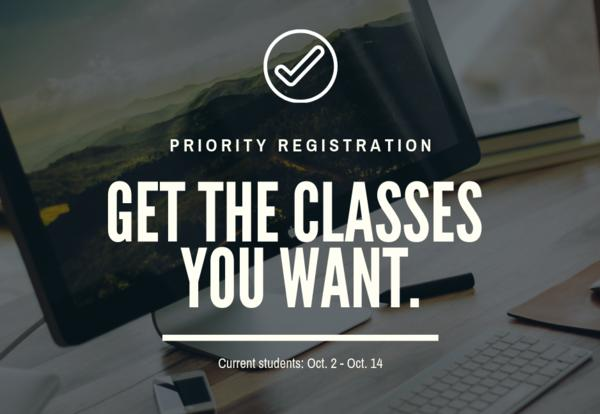 Priority Registration is Oct. 2 -14 for continuing students