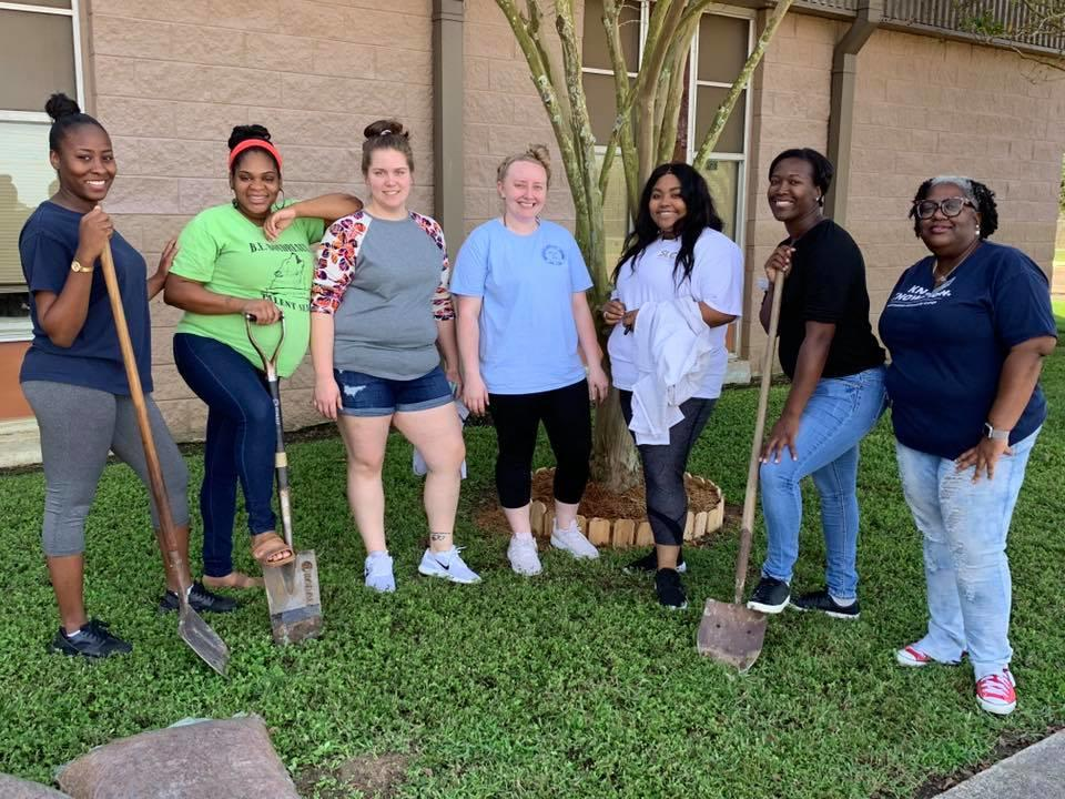 Students in Crowley helped beautify the campus
