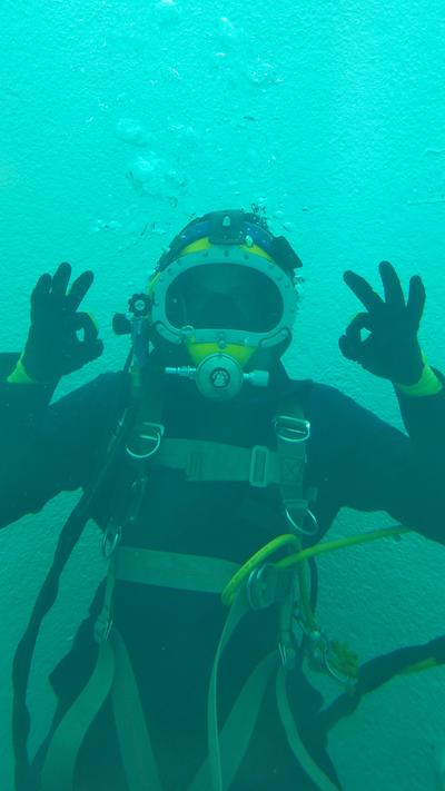 "Scuba Diver giving ""OK"" sign with hands"