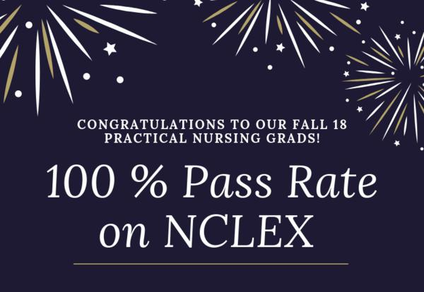 Fall 18 Practical Nurse Grads Score 100% on NCLEX