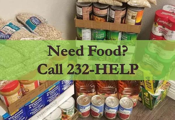 Call 232-HELP for Food Pantry Nearest Your Location