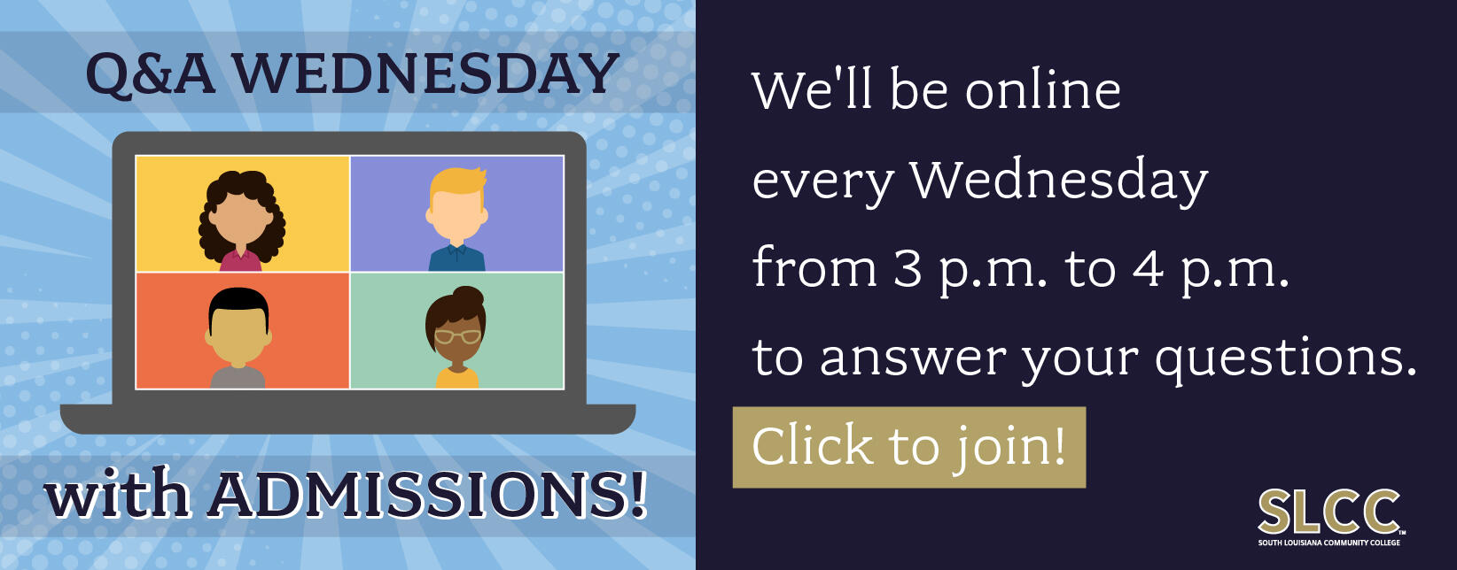 Q&A with Admissions on Wednesdays from 3-4pm
