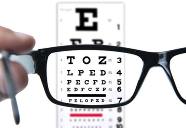 eyeglasses and exam chart