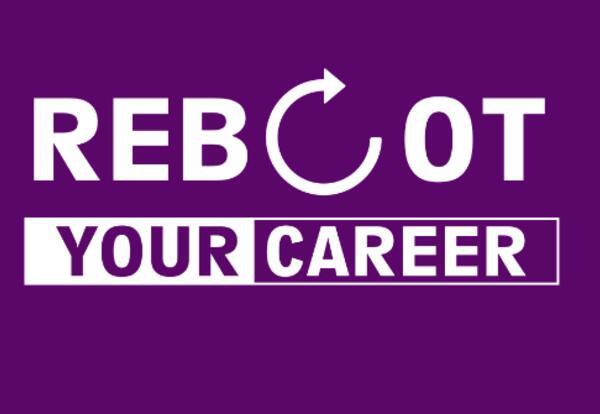 Reboot logo purple background white text