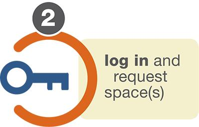 log in and request space graphic