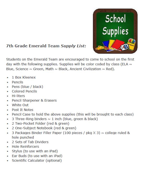 School Supplies | Auburn Middle School