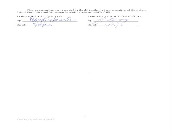 Signed execution of Agreement