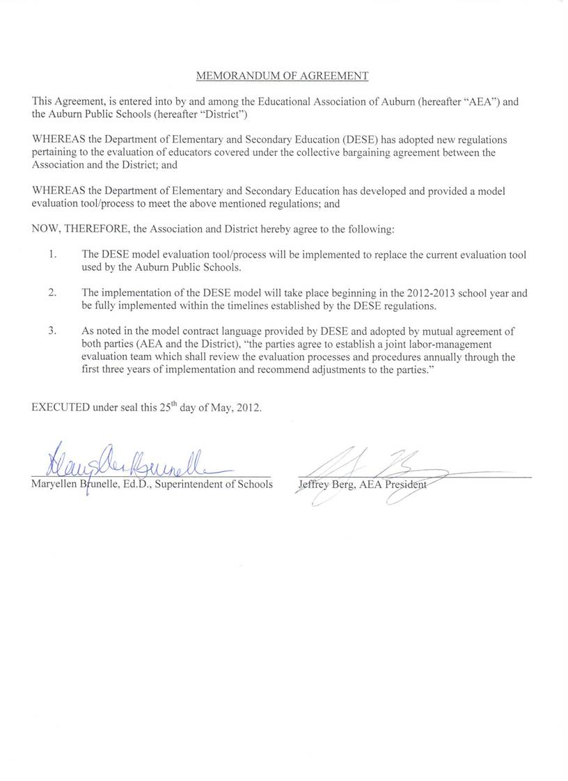Memorandum of Agreement - signed