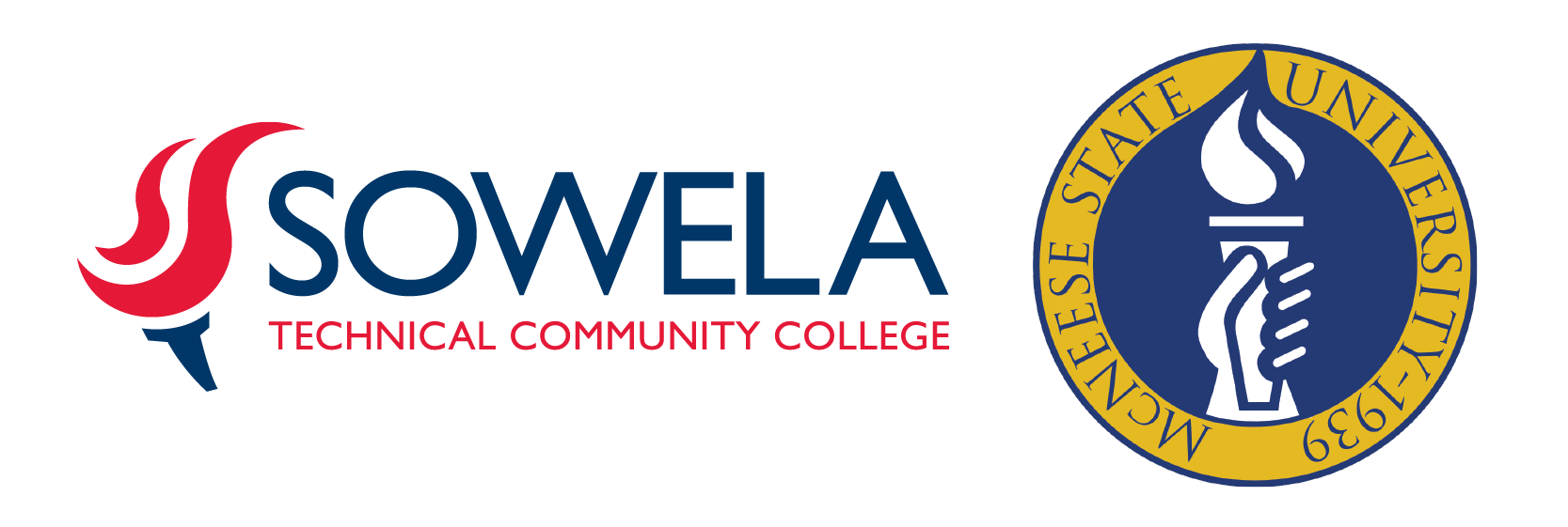 Sowella Technical Community College and McNeese State University logos