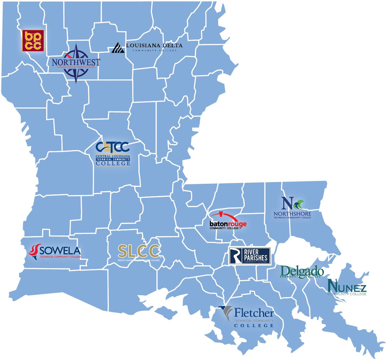 colleges in louisiana map Our Colleges Lctcs colleges in louisiana map