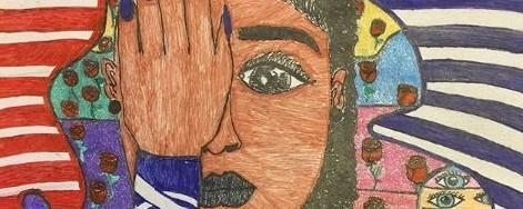 student artwork is woman with hand over eye