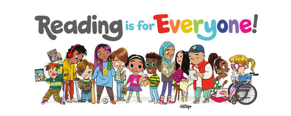 Cartoon of a large group of diverse children