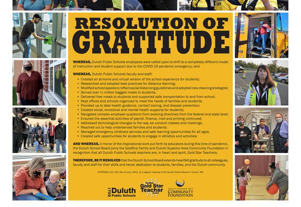 Resolution of Gratitude & Gold Star Teachers Recognition
