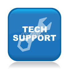 Blue button icon with wrench and Tech Support